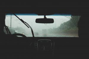 Rainy weather in a car